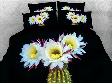 3D Cactus were in Flowers Digital Printing Cotton 4-Piece Bedding Sets/Duvet Covers