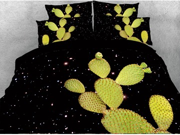 Cactus and Galaxy Digital Printing Cotton 4-Piece 3D Bedding Sets/Duvet Covers