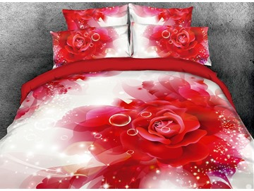 3D Vivid Red Rose and Bubbles Digital Printing Cotton 4-Piece Bedding Sets/Duvet Covers