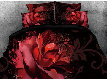 3D Red Flower Blooming in the Dark Digital Printing Cotton 4-Piece Bedding Sets/Duvet Covers