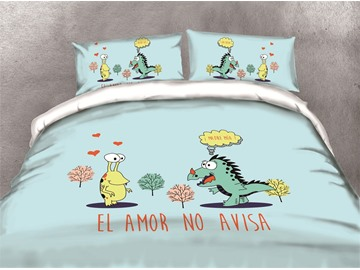 Cartoon Frog and Dinosaur Printing Cotton 4-Piece 3D Bedding Sets/Duvet Covers