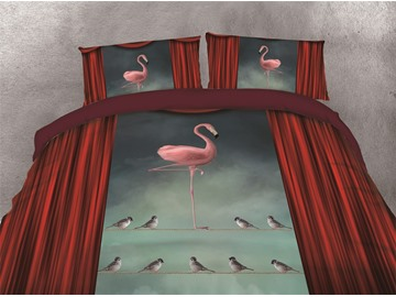 Pink Flamingo and Sparrow Printing Cotton 4-Piece 3D Bedding Sets/Duvet Covers