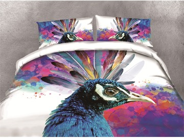 Colorful Peacock Head Printing 3D Cotton 4-Piece Bedding Sets/Duvet Covers