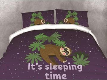 Cartoon Sleeping Sloth and Galaxy Printing Cotton 3D 4-Piece Bedding Sets/Duvet Covers
