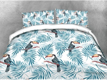 Blue Birds and Leaves Printing Polyester 4-Piece 3D Bedding Sets/Duvet Covers