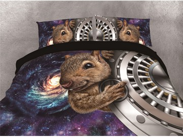 Squirrel and Galaxy Printing Cotton 4-Piece 3D Bedding Sets/Duvet Covers