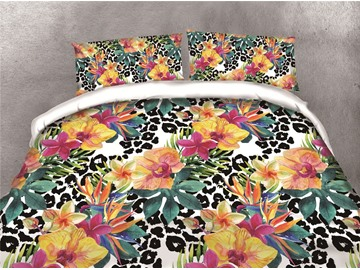 Colorful Orchid Printing Cotton 4-Piece 3D Bedding Sets/Duvet Covers