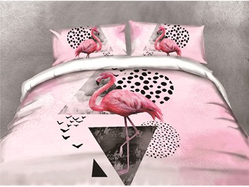 Flamingo and Triangle Printing Cotton 3D 4-Piece Bedding Sets/Duvet Covers