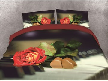 Heart-shaped Chocolates &Red Rose Printing Cotton 3D 4-Piece Bedding Sets/Duvet Covers