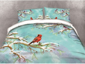Little Red Bird on the Branch Printing 4-Piece 3D Bedding Sets/Duvet Covers