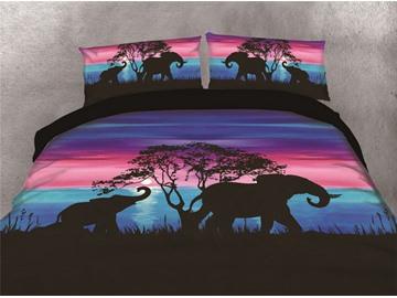 Elephants Walking Under the Sunset Watercolor Printing Cotton 4-Piece 3D Bedding Sets/Duvet Covers
