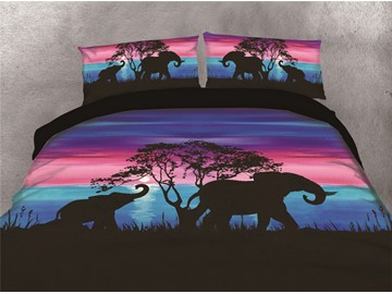Elephants Walking Under the Sunset Watercolor Printing Cotton 4-Piece 3D Bedding Sets/Duvet Covers