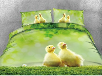 Yellow Duckling and Green Grass Printing Cotton 4-Piece 3D Bedding Sets/Duvet Covers