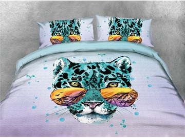 Blue Leopard With Sunglasses Printing 4-Piece Cotton 3D Bedding Sets/Duvet Covers