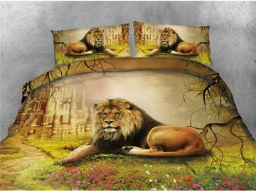 Lion and Castle Digital Printing Cotton 4-Piece 3D Bedding Sets/Duvet Covers