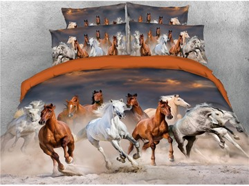 Galloping Horse Digital Printed 4-Piece 3D Animal Bedding Sets/Duvet Covers