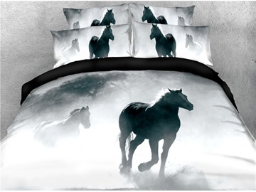 Horses and White Fog Digital Printing 4-Piece 3D Bedding Sets/Duvet Covers