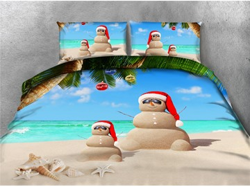 Christmas Sand Man and Beach Printing 4-Piece 3D Bedding Sets/Duvet Covers