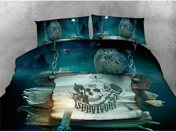 Halloween Owl and Skull Printing Cotton 4-Piece 3D Bedding Sets/Duvet Covers
