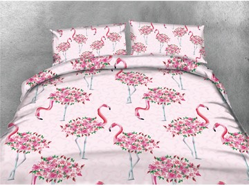 Red Rose and Flamingo Printing Cotton Pink 4-Piece 3D Bedding Sets/Duvet Covers