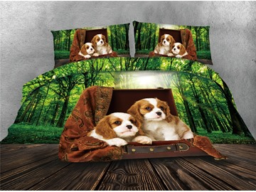 Dogs and Green Forest Printing Cotton 4-Piece 3D Bedding Sets/Duvet Covers