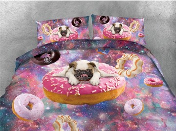 Puppy Dog and Doughnut Galaxy Printing Cotton 4-Piece Bedding Sets/Duvet Covers