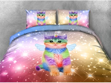 Colorful Cat With Shiny Wings 3D Printing 4-Piece Polyester Bedding Sets/Duvet Covers