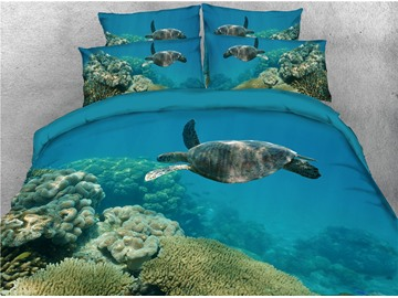 Turtle Swimming on the Sea Printing Cotton 3D 4-Piece Bedding Sets/Duvet Covers