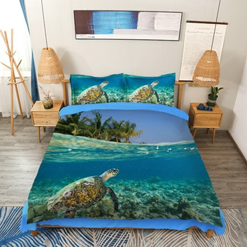 3D Animal Bedding Turtle and Limpid Ocean Print 4-Piece Blue Bedding Set / Duvet Cover Set Polyester