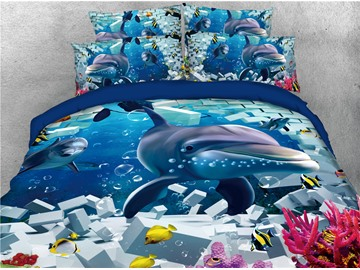 Dolphins and Sea Fish Printing Cotton 4-Piece 3D Bedding Sets/Duvet Covers
