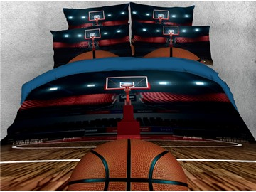 Basketball and Court Printing Polyester 3D 4-Piece Bedding Sets/Duvet Covers