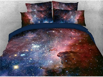 Shining Stars and Nebula Printing Cotton 3D 4-Piece Bedding Sets/Duvet Covers