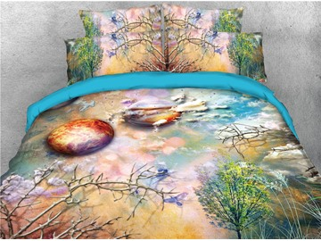 Planet and Green Tree Scenery Printing Cotton 3D 4-Piece Bedding Sets/Duvet Covers