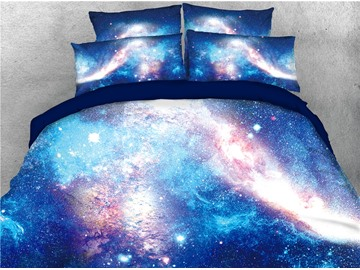 Starry Galaxy and Nebula Printing Cotton 3D 4-Piece Bedding Sets/Duvet Covers