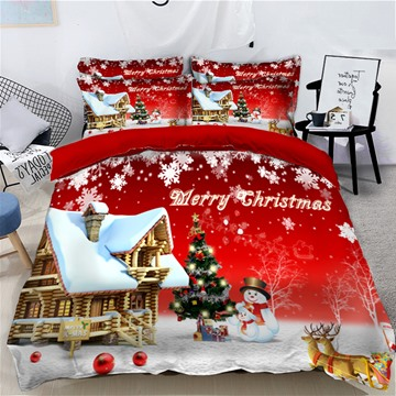 Snowman and Reindeer Printed Snow 3D 4-Piece Christmas Bedding Sets Duvet Covers Colorfast Wear-resistant Endurable Skin-friendly All-Season Ultra-soft Microfiber No-fading