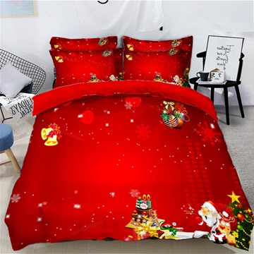 Santa Claus Christmas Atmosphere Red Printed 3D 4-Piece Bedding Sets/Duvet Covers Colorfast Wear-resistant Endurable Skin-friendly All-Season Ultra-soft Microfiber No-fading