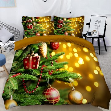 Christmas Tree with Decorations Balls and Light Printed 3D 4-Piece Bedding Sets Duvet Covers Colorfast Wear-resistant Endurable Skin-friendly All-Season Ultra-soft Microfiber No-fading
