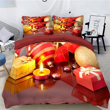 Christmas Golden Balls and Ornaments Printed 3D 4-Piece Bedding Sets Duvet Covers Colorfast Wear-resistant Endurable Skin-friendly All-Season Ultra-soft Microfiber No-fading