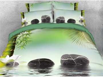 Stones and Bamboo Tree on the Water Printed 4-Piece 3D Bedding Sets/Duvet Covers