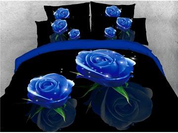 Blue Shining Rose Digital Printed 4-Piece 3D Bedding Sets/Duvet Covers
