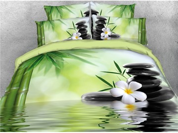 Fresh Bamboo and Stones in River 4-Piece 3D Bedding Sets/Duvet Covers