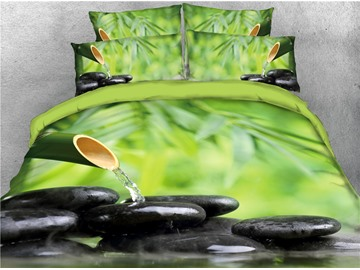 Moving Water and Stones Fresh Bamboo Printed 4-Piece 3D Bedding Sets/Duvet Covers