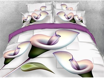 Irises 3D Floral Duvet Cover Set with Non-slip Ties Polyester 4-Piece Bedding Sets with Purple Sheet and Envelope Pillow Covers