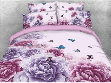 Blooming Peonies and Butterflies Digital Printed 4-Piece 3D Bedding Sets/Duvet Covers