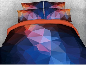 Abstract Blue Gradient Printed 4-Piece 3D Geometric Bedding Sets/Duvet Covers