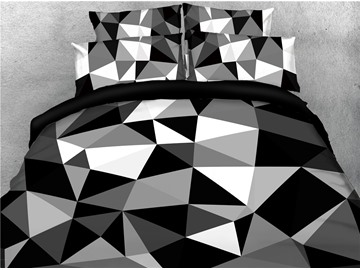 Black and White Abstract Geometric Printed 4-Piece 3D Bedding Sets/Duvet Covers