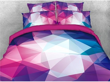 Abstract Geometric Pattern 4-Piece 3D Bedding Sets/Duvet Covers