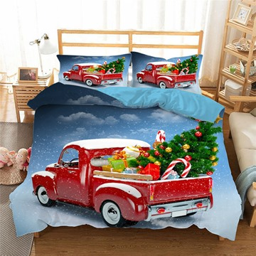 Red Car Loaded with Gifts 3D 4-Piece Christmas Bedding Set/Duvet Cover Set Blue