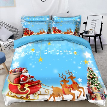 Reindeer Pull Santa's Sleigh Merry Christmas 4-Piece 3D Bedding Sets Duvet Covers Colorfast Wear-resistant Endurable Skin-friendly All-Season Ultra-soft Microfiber No-fading