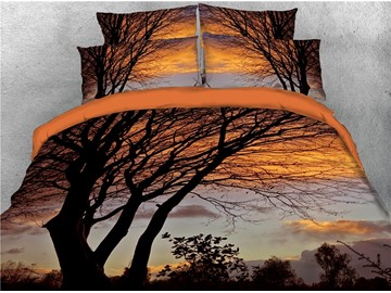 3D Branch Blight 4-Piece Burnt Orange Bedding Sets Microfiber Wrinkle/Fade Resistant Zipper Duvet Cover with 2-Piece Envelope Pillow Covers and 1-Piece Sheet